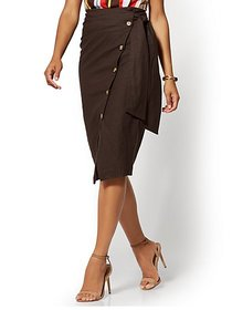 Button-Accent Linen-Blend Wrap Skirt - New York &