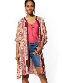 Mixed-Print Belted Jacket - New York & Company