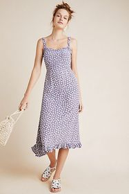 Anthropologie Faithfull Noemie Smocked Midi Dress