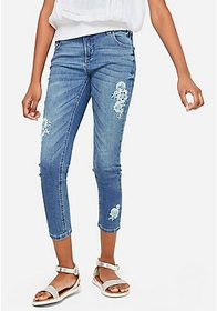 Justice Embroidered Patch Crop Jeans
