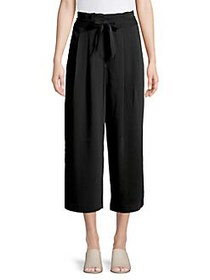 T Tahari Pleated Cropped Paperbag Pants BLACK
