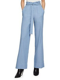 BCBGeneration Wide-Leg Cotton Paperbag Pants DENIM