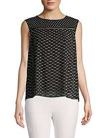 T Tahari Dotted Sleeveless Top BLACK WHITE DOT