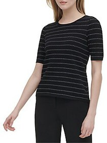 Calvin Klein Striped Dotted Top BLACK