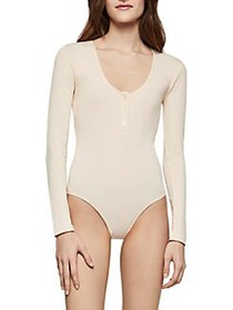 BCBGeneration Henley Ribbed Knit Bodysuit CREAM