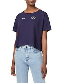 French Connection Wink Embroidery Crop Tee DUCHESS