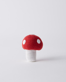 Hanna Andersson Crochet Mushroom Rattle in White/R