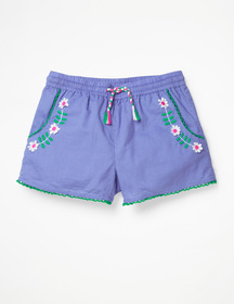 Boden Embroidered Tie-waist Shorts