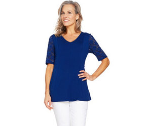 Denim & Co Fit & Flare Stretch Lace Elbow Sleeve T
