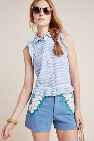 Anthropologie Cloth & Stone Woodford Striped Butto