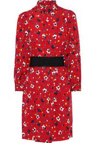 MARC JACOBS Belted floral-print silk-jacquard mini