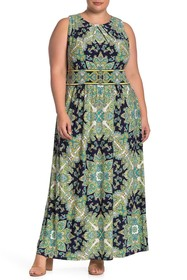 London Times Mandala Jersey Maxi Dress (Plus Size)