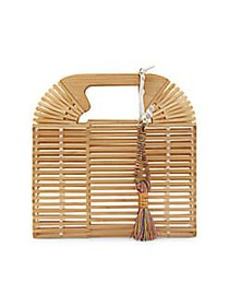 Vince Camuto Bayne Tasseled Bamboo Clutch NATURAL