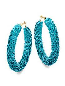 Kenneth Jay Lane Sequin Hoop Earrings NO COLOR