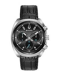 Bulova Curv Chronograph Embossed Black Leather Str