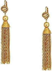 Kenneth Jay Lane Gold Chain Tassel Fishhook Earrin
