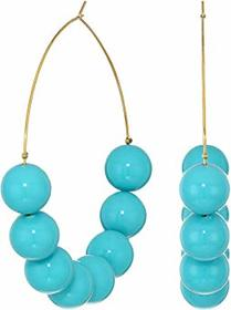 Kenneth Jay Lane Large Turquoise Bead Gold Hoop Pi