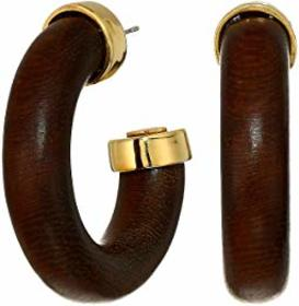 Kenneth Jay Lane Gold/Dark Wood Small Pierced Tube