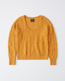 Slouchy Scoopneck Sweater, NAVY SD/TEXTURE
