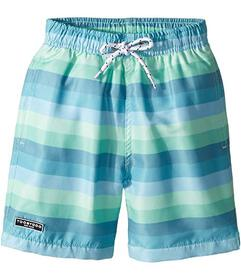 Toobydoo Touch of Green Stripe Swim Shorts (Infant