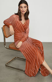BCBG Sunburst Fan Faux Wrap Dress