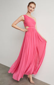 BCBG One Shoulder Cutout Gown