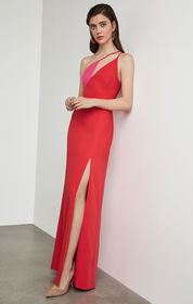 BCBG One Shoulder Colorblocked Gown