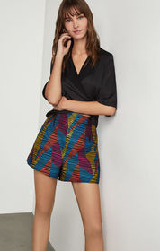 BCBG Geo Print Striped Short