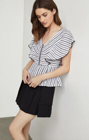 BCBG Striped Angel Wing Top
