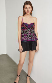 BCBG Embroidered Empire Waist Top