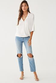 Forever21 Surplice Notched-Collar Top