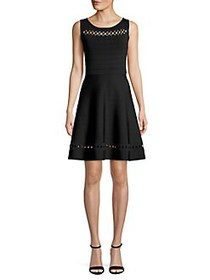 French Connection Kai Mini Fit-&-Flare Dress BLACK