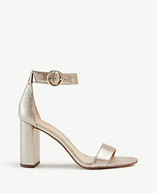 Leannette Metallic Leather Block Heel Sandals