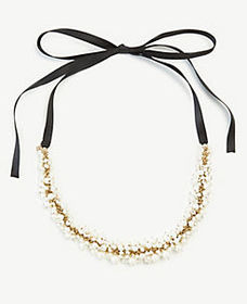 Pearlized Cluster Ribbon Necklace