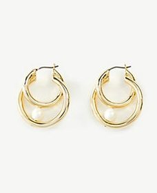 Halo Pearlized Hoop Earrings