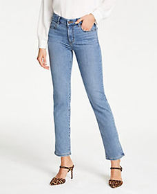 Straight Crop Jeans in Mid Indigo Wash