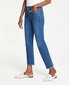 Frayed Straight Crop Jeans in Rich Authentic Indig