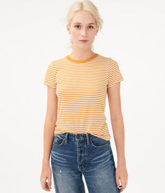 Aeropostale '90s Slim Kate Thin Stripe Crew Te