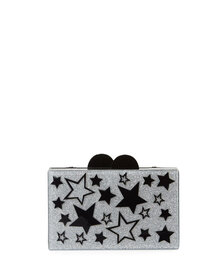 Bari Lynn Girls' Stars Glittered Acrylic Box Clutc