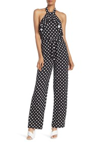 bebe Womens Crepe Ruffle Front Halter Neck Jumpsuit with Lace Back