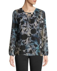 Iconic American Designer Lace-Up Floral Printed Bl