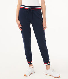 Aeropostale Striped-Trim Jogger Sweatpants