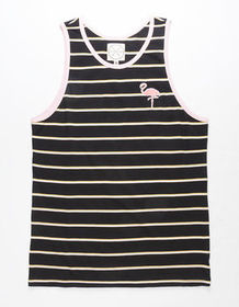 BIRCH BLACK Flamingo Stripe Mens Tank Top_