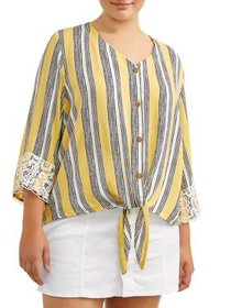 Juniors' Plus Size Crochet Trimmed Striped Tie Fro