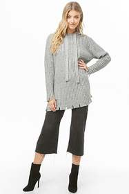 Forever21 Hooded Ribbed Knit Sweater