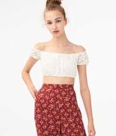 Aeropostale Daisy Lace Crop Top