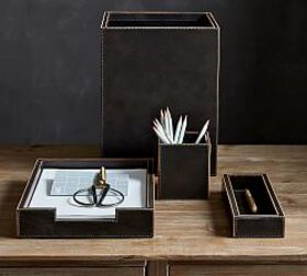 Pottery Barn Gia Leather Desk Accessories Collecti