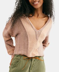 Free People Lemonade Stand Cropped Mixed-Knit Swea