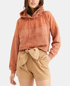 Free People Piper Pullover Multimedia Cropped Hood