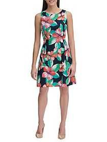 Tommy Hilfiger Wild Hibiscus Eyelet A-Line Dress S